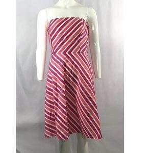 Ann Taylor Dress Strapless Pink White Stripe Aline